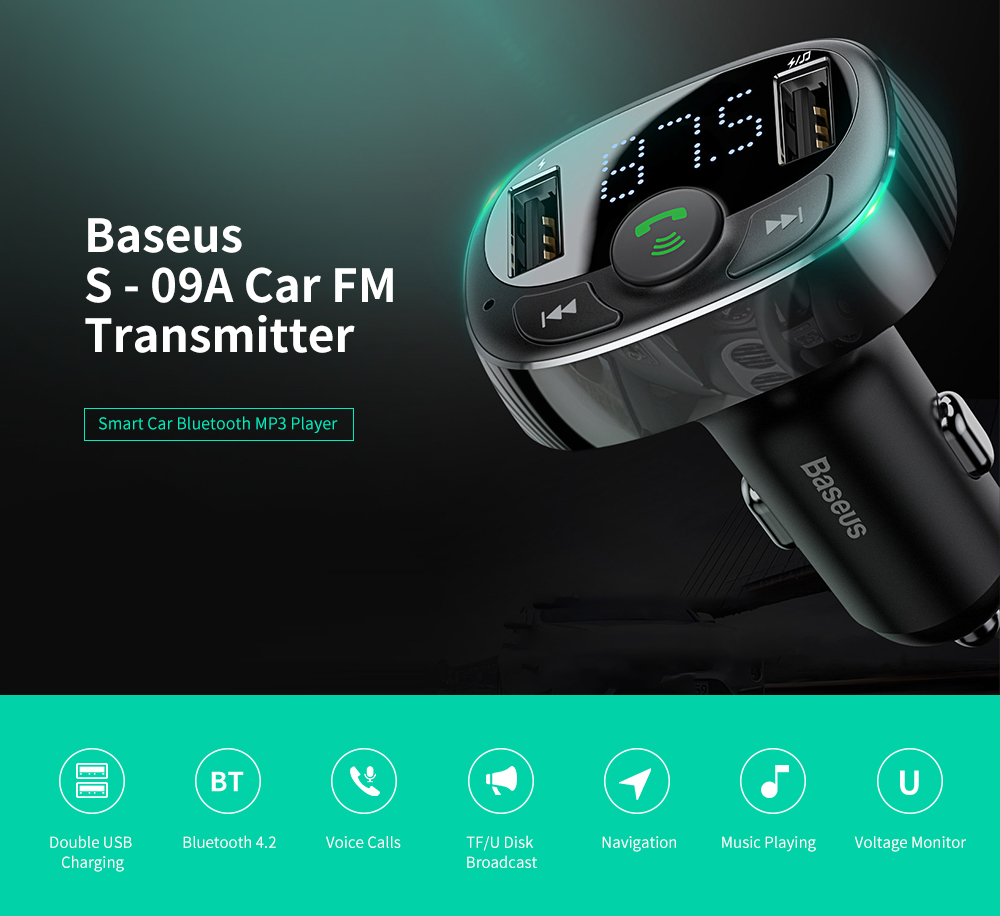 Baseus S - 09A Car Hands-free FM Transmitter Bluetooth MP3 Player Dual USB Charger - Black