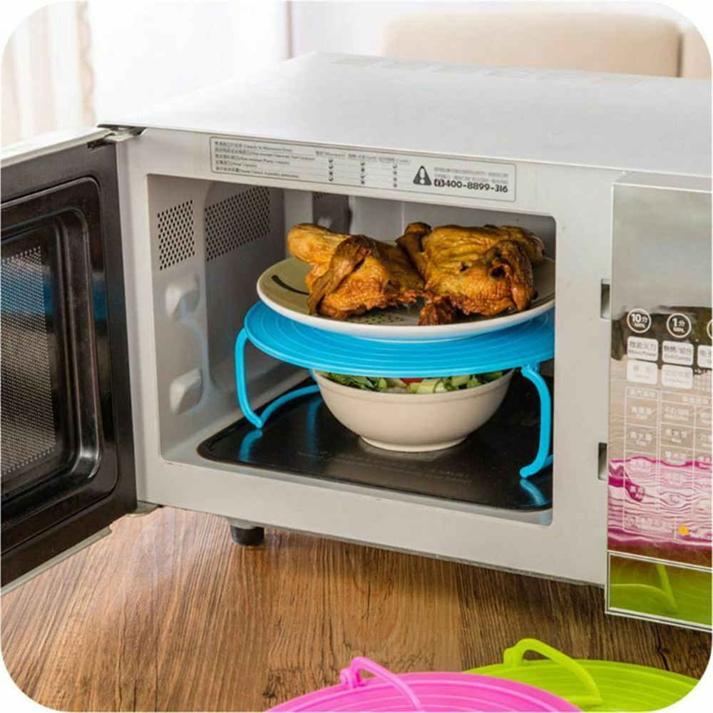 Bowls Rack Multi Functional Microwave Oven Heating Steaming Double Layer Tray- Tea Green