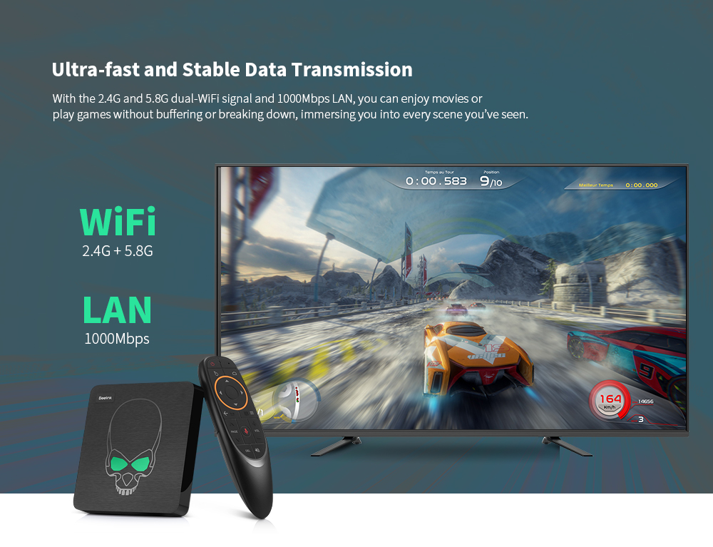 Beelink GT - King Most Power TV Box Amlogic S922X / Android 9.0 / 4GB LPDDR4 + 64GB ROM / Support 2.4G Voice Remote Control / 4K 60fps / 2.4G + 5.8G WiFi / 1000Mbps / 2 x USB3.0- Black EU Plug