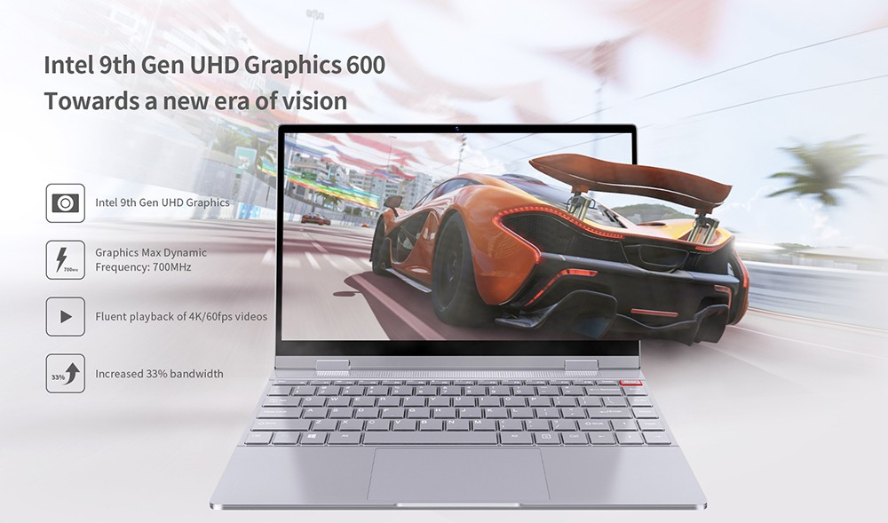 BMAX Y13 13.3 inch 1920 x 1080 Notebook Windows 10 OS Intel Gemini Lake N4100 2.4GHz CPU UHD Graphics 600 GPU 8GB DDR4 RAM 256GB SSD 360 Degrees Laptop with Backlit Keyboard- Gray