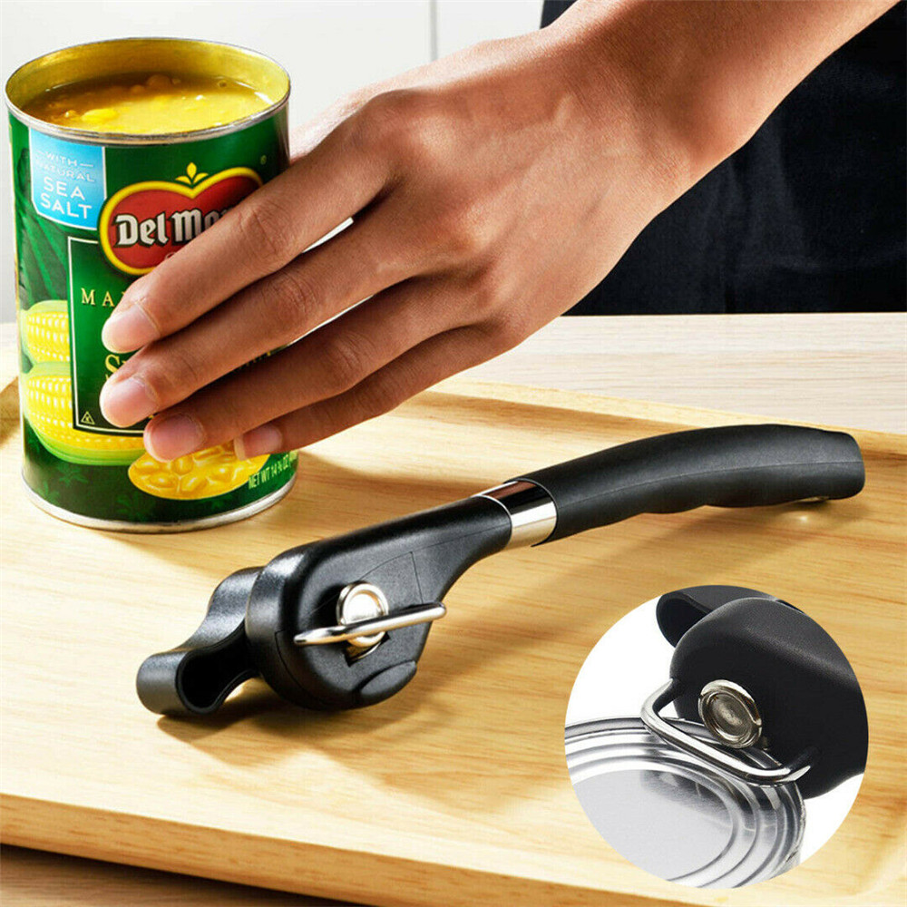 Manual Can Opener Tin Can Opener Safety Cut Lid Smooth Edge Side Stainless Steel- Black