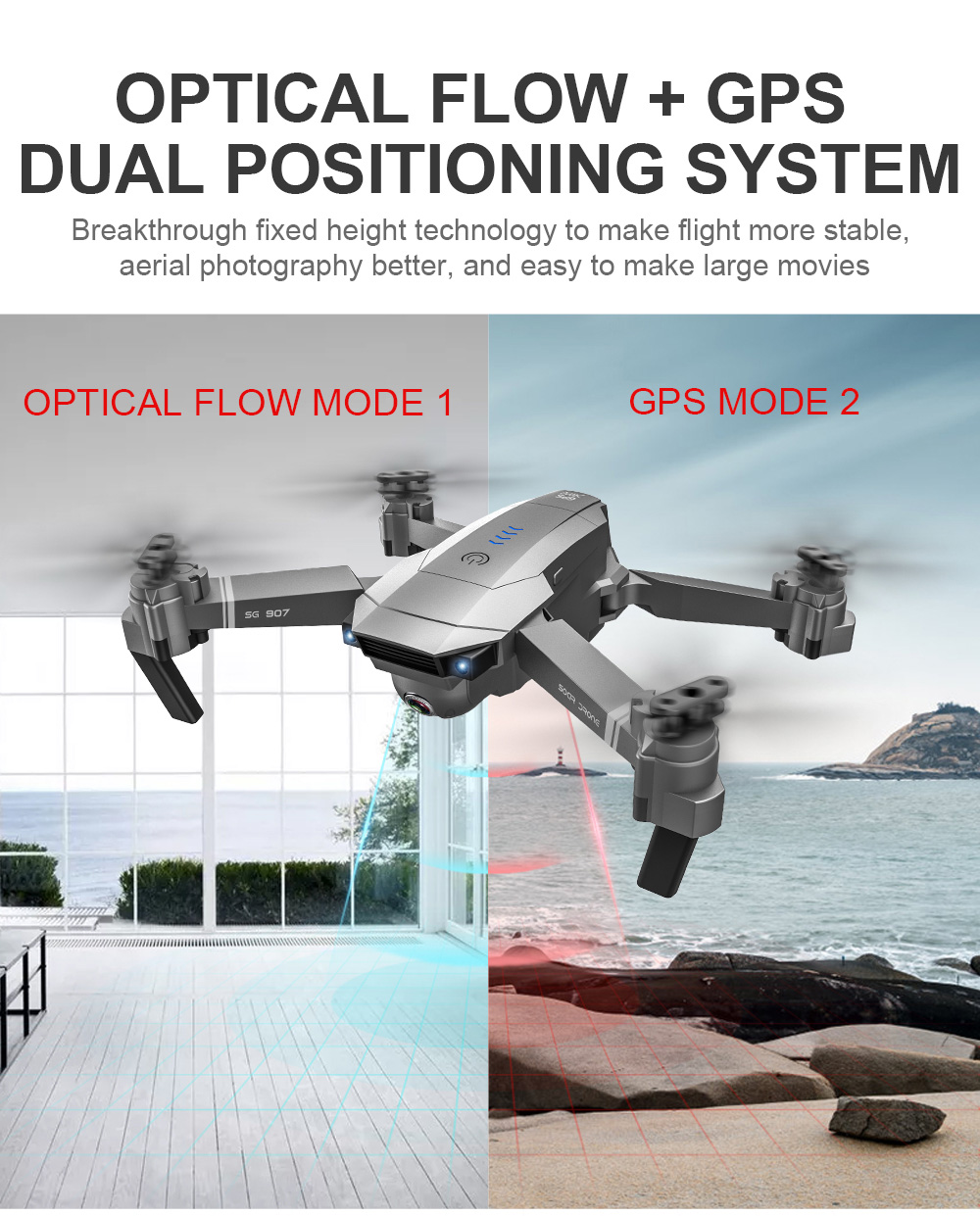 SG907 5G WiFi Folding Drone - Gray 4K,2 Batteries with Bag