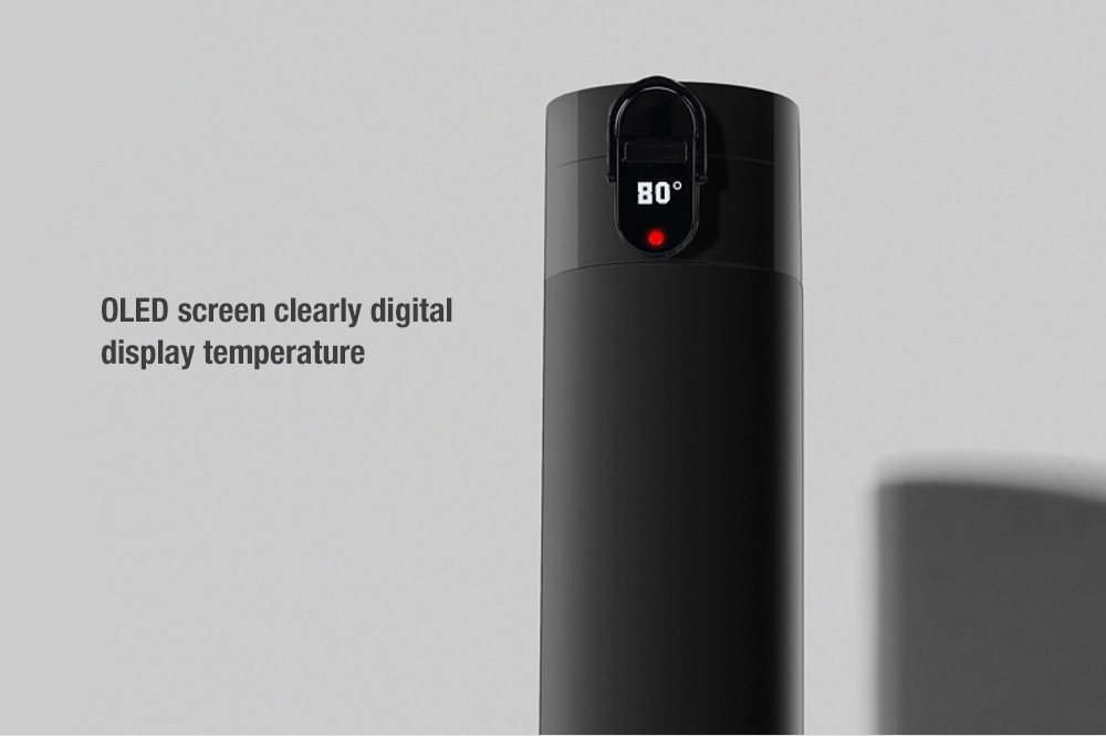 Intelligent Bounce Stainless Steel Thermos Mug Cup Temperature Display Reminder - Carbon Fiber Black