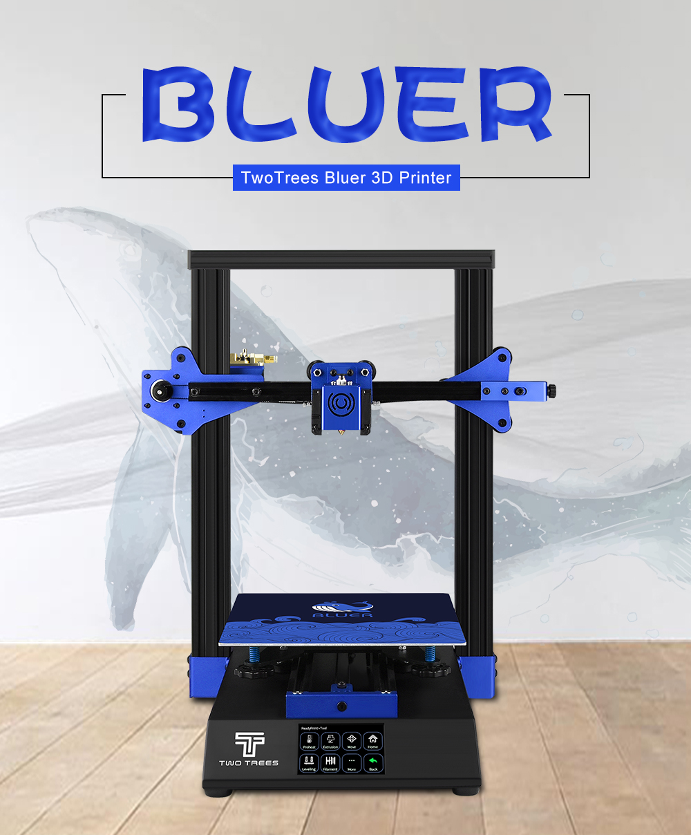 Two Trees Bluer FDM 3D Printer Automatic Leveling 3.5 inch Touch Screen TMC2208 Mute Drive / MKS ROBIN NANO V1.1 Motherboard - Black US Plug (2-pin)