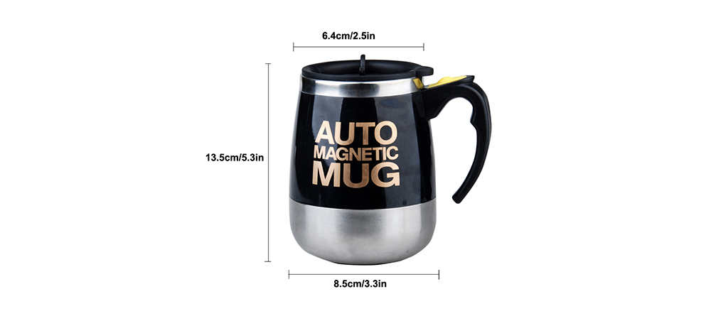 Stainless Steel Magnetic Coffee Mixing Cup Automatic Belly Magnetic Stirring Drinkware- Black