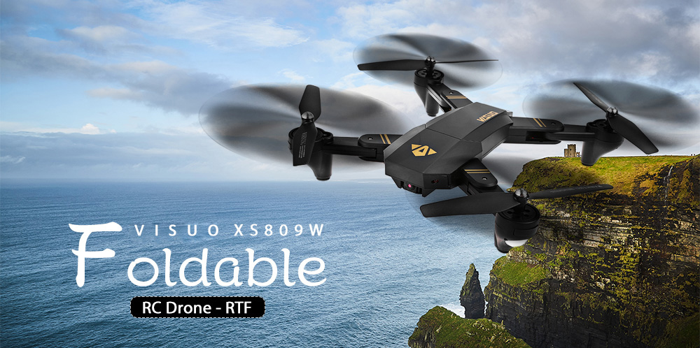 VISUO XS809W Foldable RC Quadcopter RTF WiFi FPV / G-sensor Mode / One Key Return- Black with Three Batteries, 2MP Camera + Air Press Altitude Hold