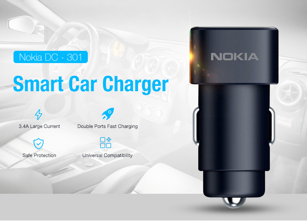 Nokia DC - 301 3.4A Smart Car Charger - Black