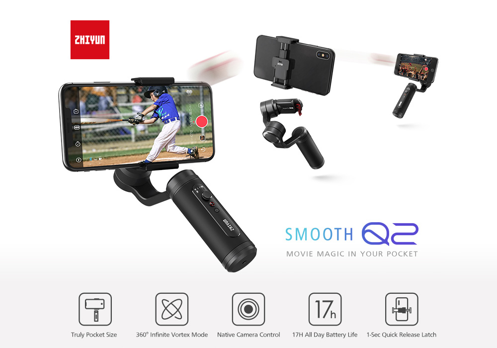 ZHIYUN Smooth Q2 Stabilizer 3-axis Anti-shaking Cellphone Holder - Black
