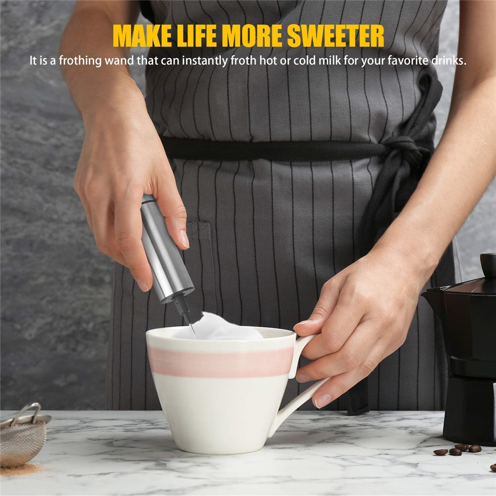 Stainless Steel Handheld Milk Coffee Blender- Silver