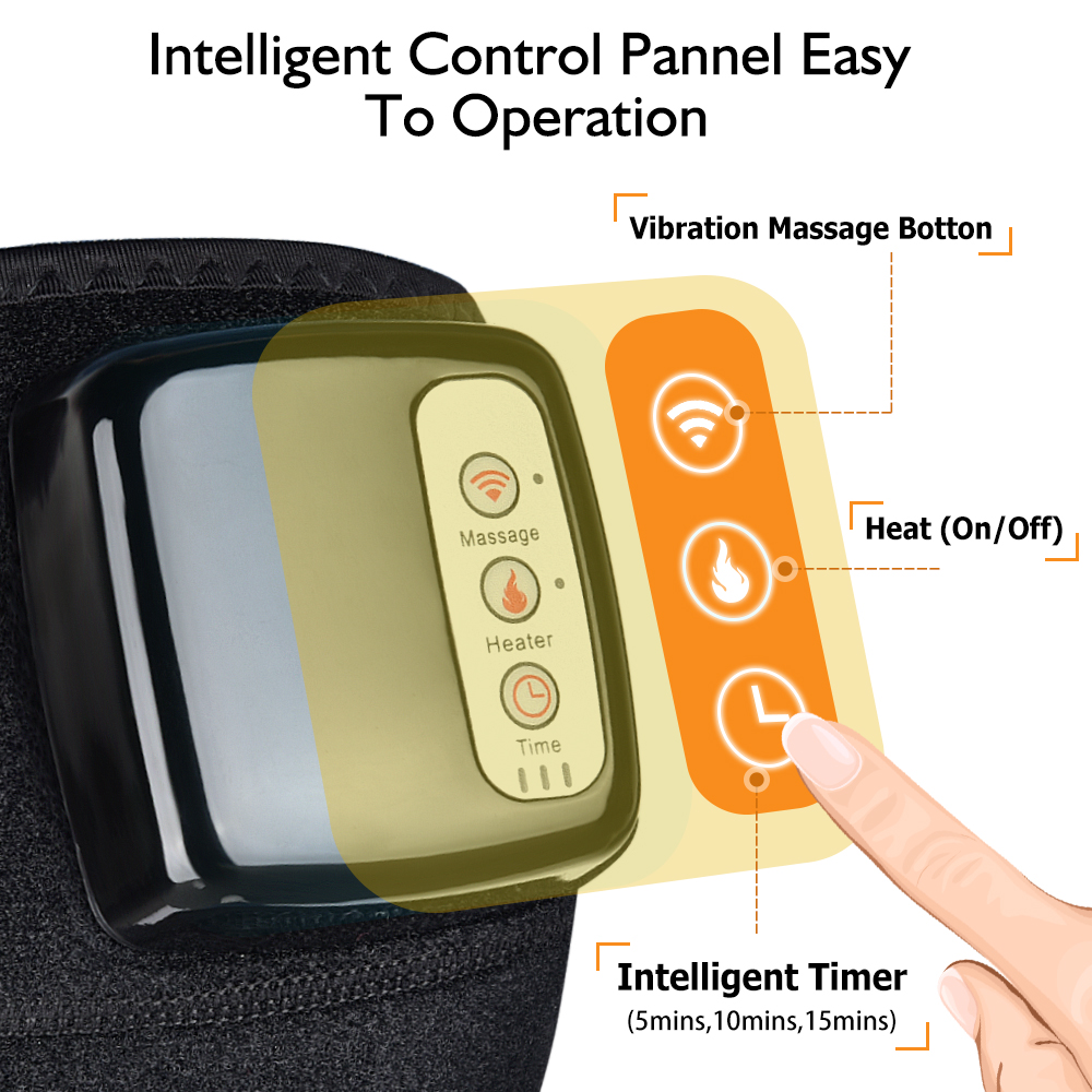 Knee Massager for Pain Relief Heated Vibration- Black