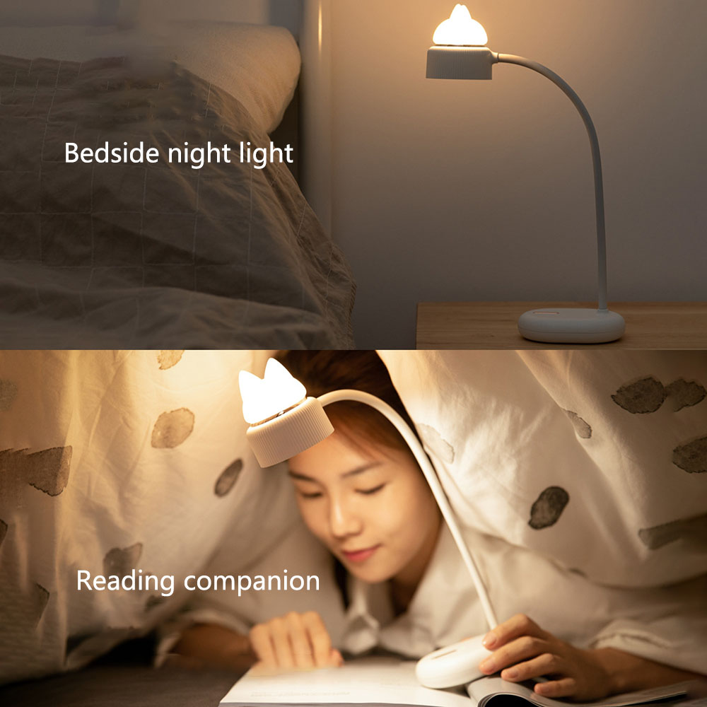 Creative Table Lamp LED Charging Student Learning Eye Lamp Home Night Light- Light Cyan