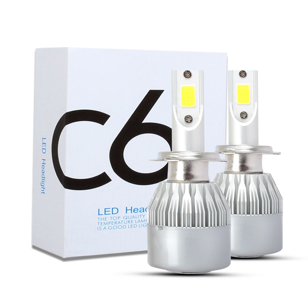 C6 Car Led Headlights Led Car Lights H1 6000K 2pcs- Silver
