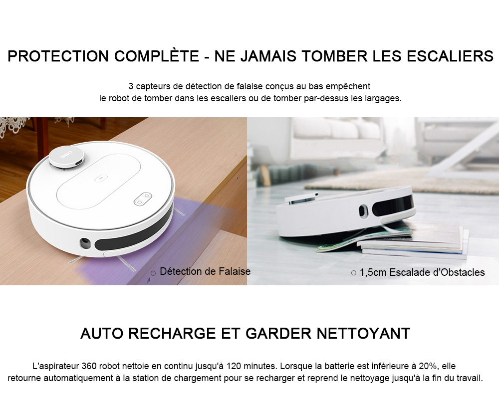 360 S6 Robotic Vacuum Cleaner Automatic Remote Control Cleaning Robot - White