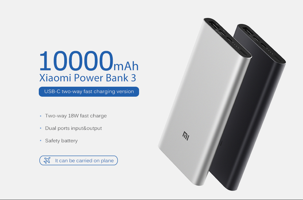 Xiaomi PLM12ZM 10000mAh Mobile Power Bank 3 - Black