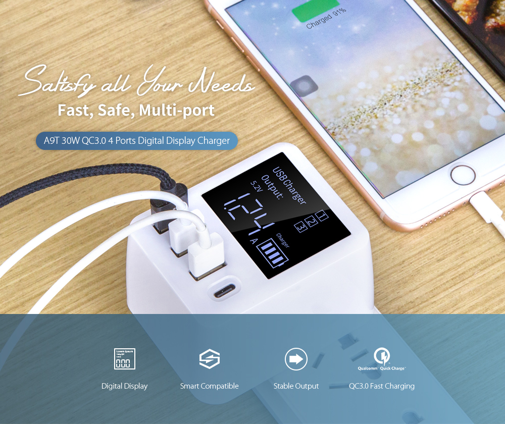 A9T QC3.0 USB + Type-C 4 Ports Fast Charge Compatible with PD 30W- White