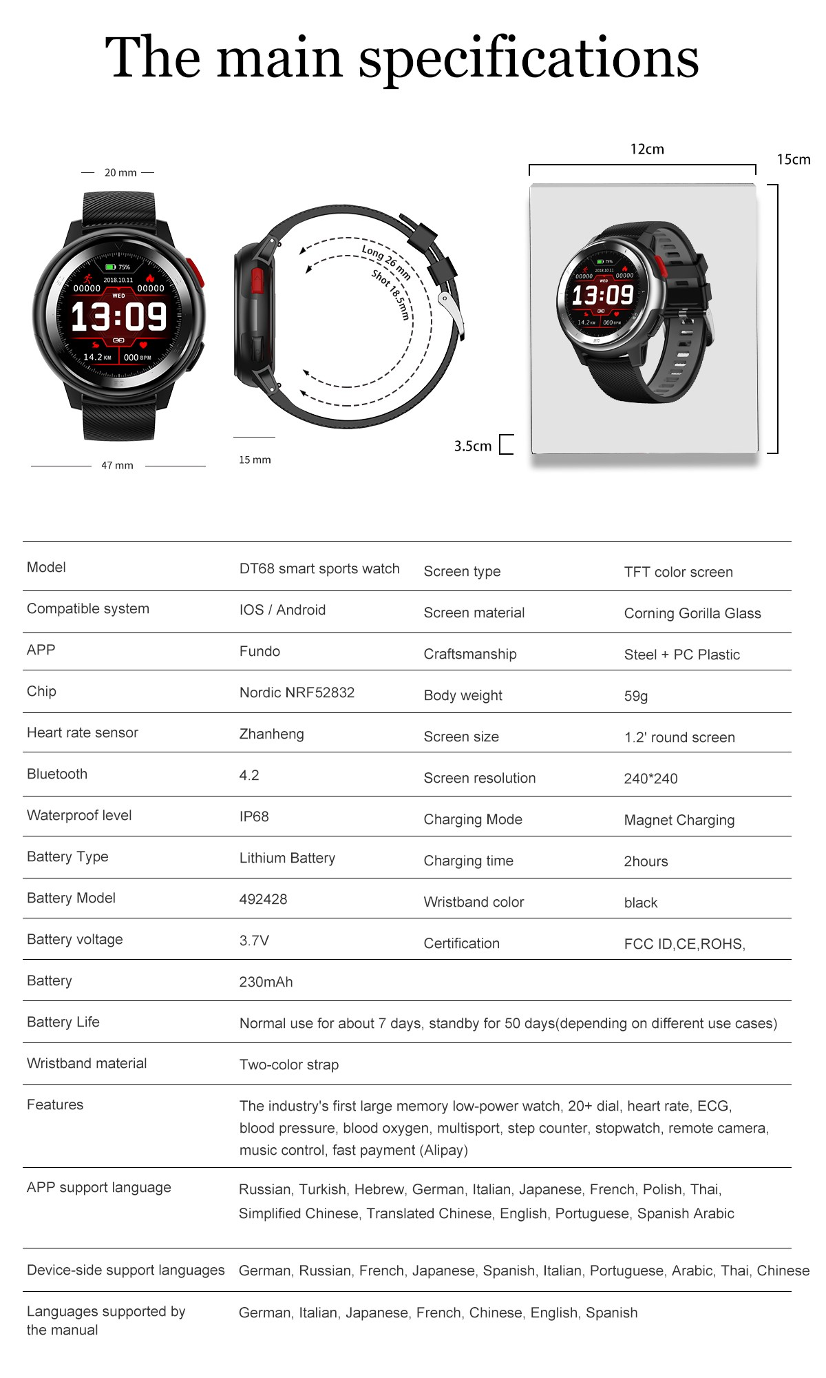 No.1 DT68 IP68 Smart Watch- Gray