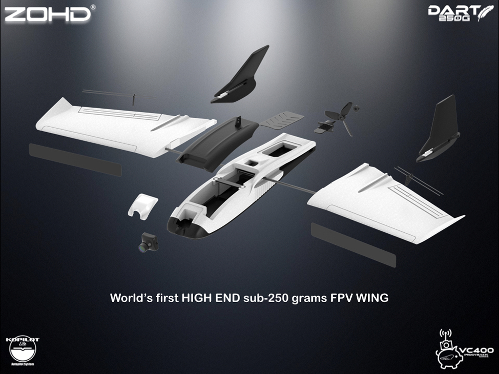 ZOHD Dart 250G 570mm Wingspan Sub-250 grams Sweep Forward Wing AIO EPP FPV RC Airplane- White KIT