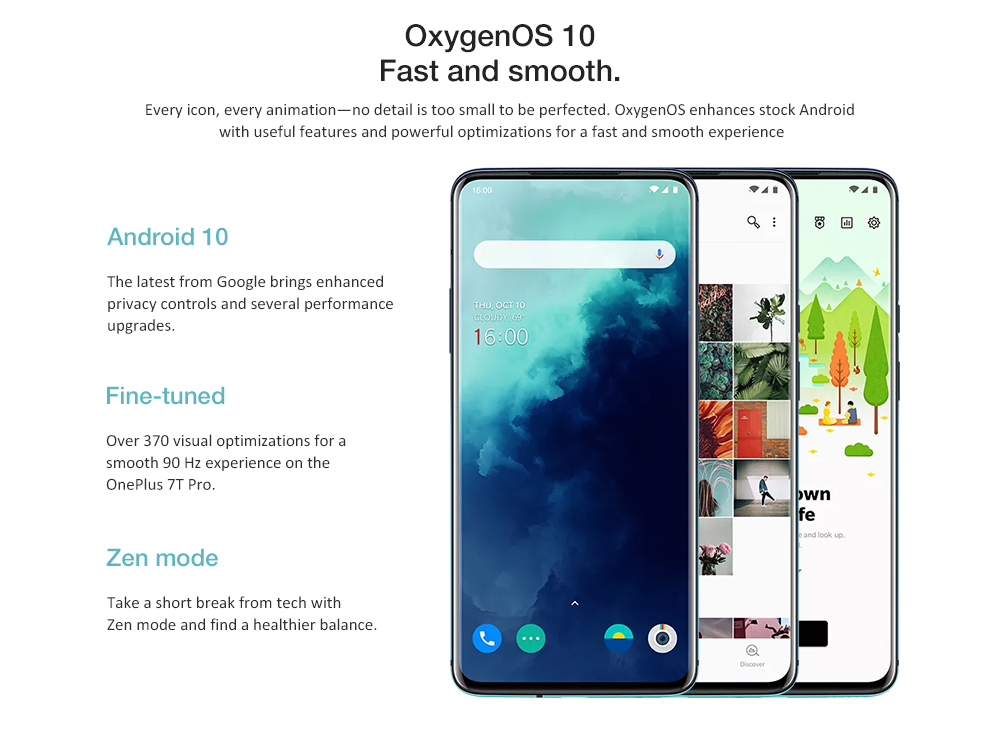 Smartphone 4G OnePlus 7T Pro Version Internationale 6,67 pouces Oxygène OS Snapdragon 855 Plus Octa Core 8Go RAM 256Go ROM 3 Caméra Arrière 4085mAh Batterie- Bleu Version Internationale