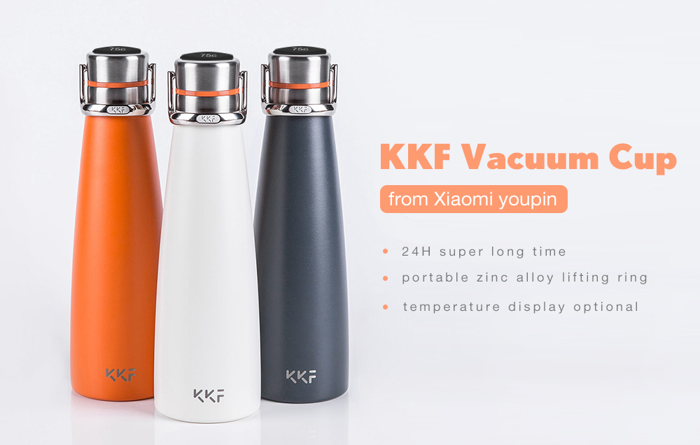 KKF Smart Vacuum Cup OLED Display Version from Xiaomi youpin- Pumpkin Orange