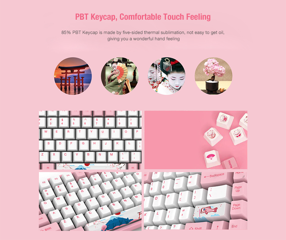 AKKO 3084 World Tour - Tokyo Mechanical Gaming Keyboard 84 Keys Bluetooth 3.0 USB Sublimation PBT Keycaps- Blush Red Akko Blue Switch
