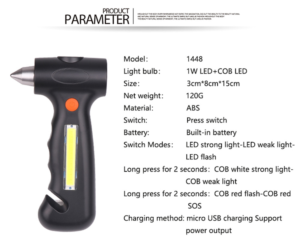 LED Charging Flashlight Safety Hammer- Black