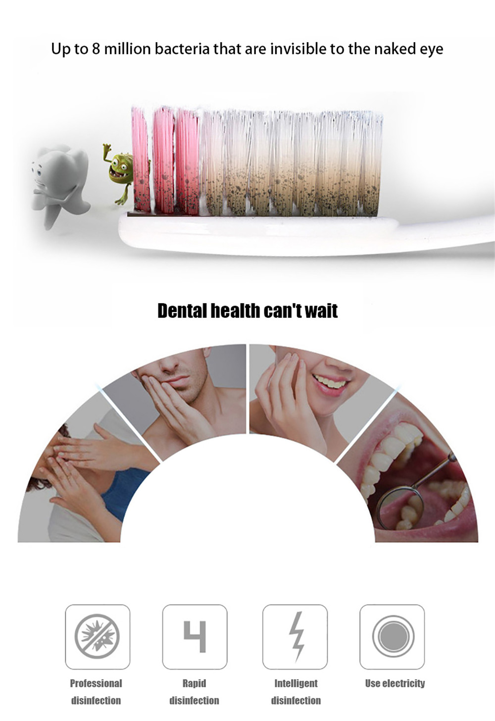 2-IN-1 Ultraviolet Toothbrush Disinfector Automatic Toothpaste Distributor- White