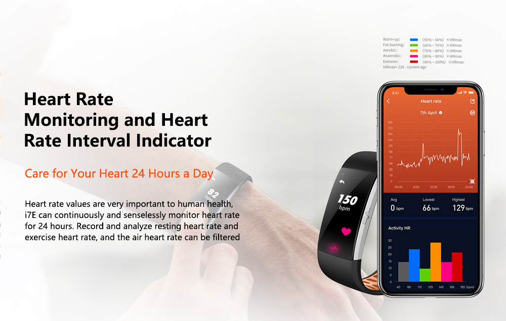 Alfawise I7E  Full Touch Real Time Heart Rate ECG Monitor Smart Watch- Black