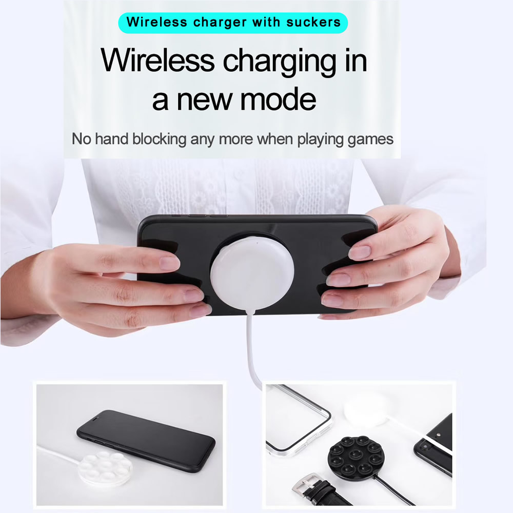10W USB Suction Cup Wireless Charger for iPhone X / 8 Plus / Samsung / Xiaomi- Black
