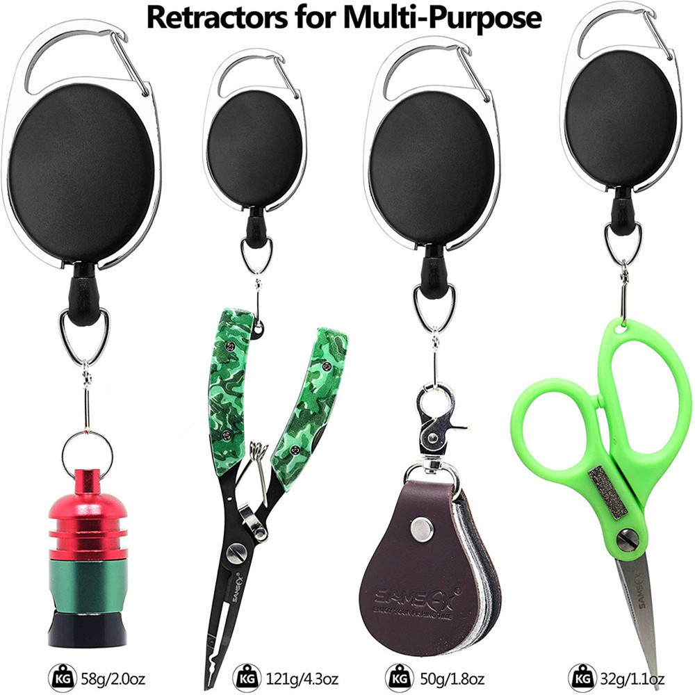 Fishing Retractor Tool Extractor Stopper Keeper Tether Retractable Reel 3PCS- Black