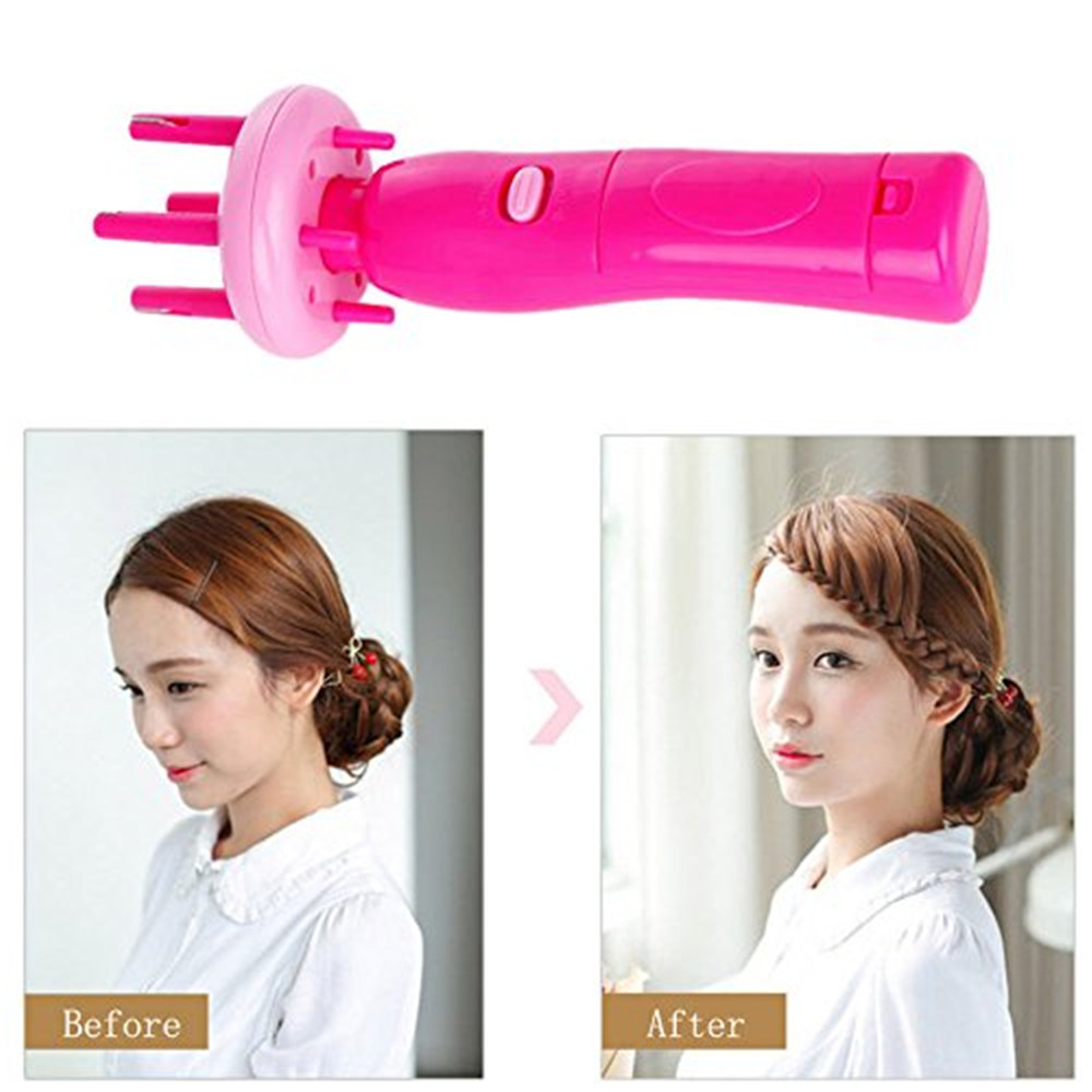 Automatic Twist Braid Knitted Device 4 Head Hair Braiders Style Gadget For Women- Rose Red