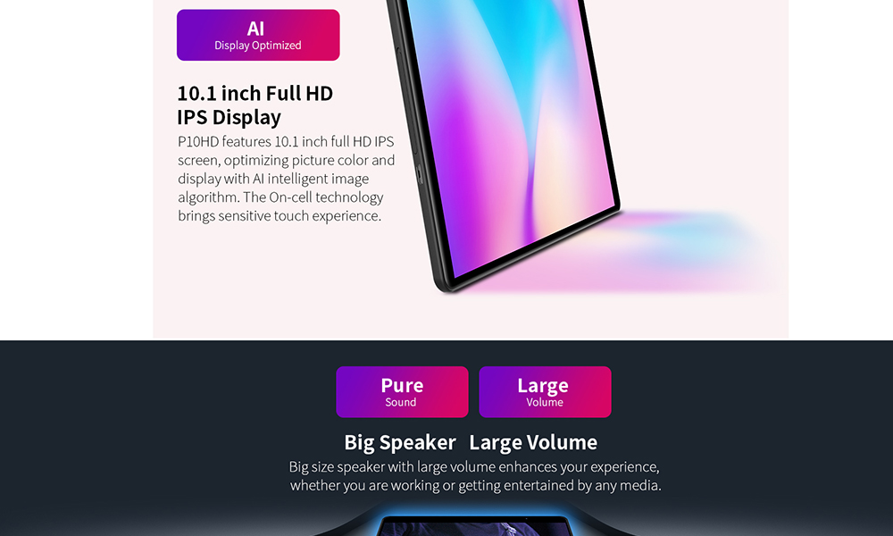 Teclast P10HD 10,1 pollici 4G Smartphone Android 9.0 Spreadtrum SC9863A Octa-core CPU 3GB di RAM + 32GB ROM 5,0MP + 2,0MP Doppia Fotocamera Tablet PC- Nero