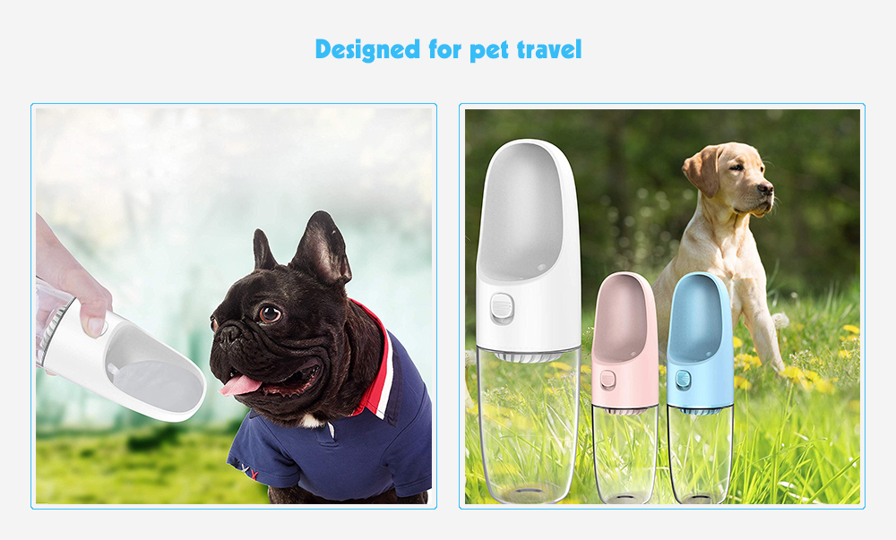 Dogness D02 Dog Water Bottle Fashion Antibacterial Food Grade Leak Proof Portable Dog Cat Travel Water Cup Pets Outdoor Drinking Bottle 10oz / 300ml- Light Pink