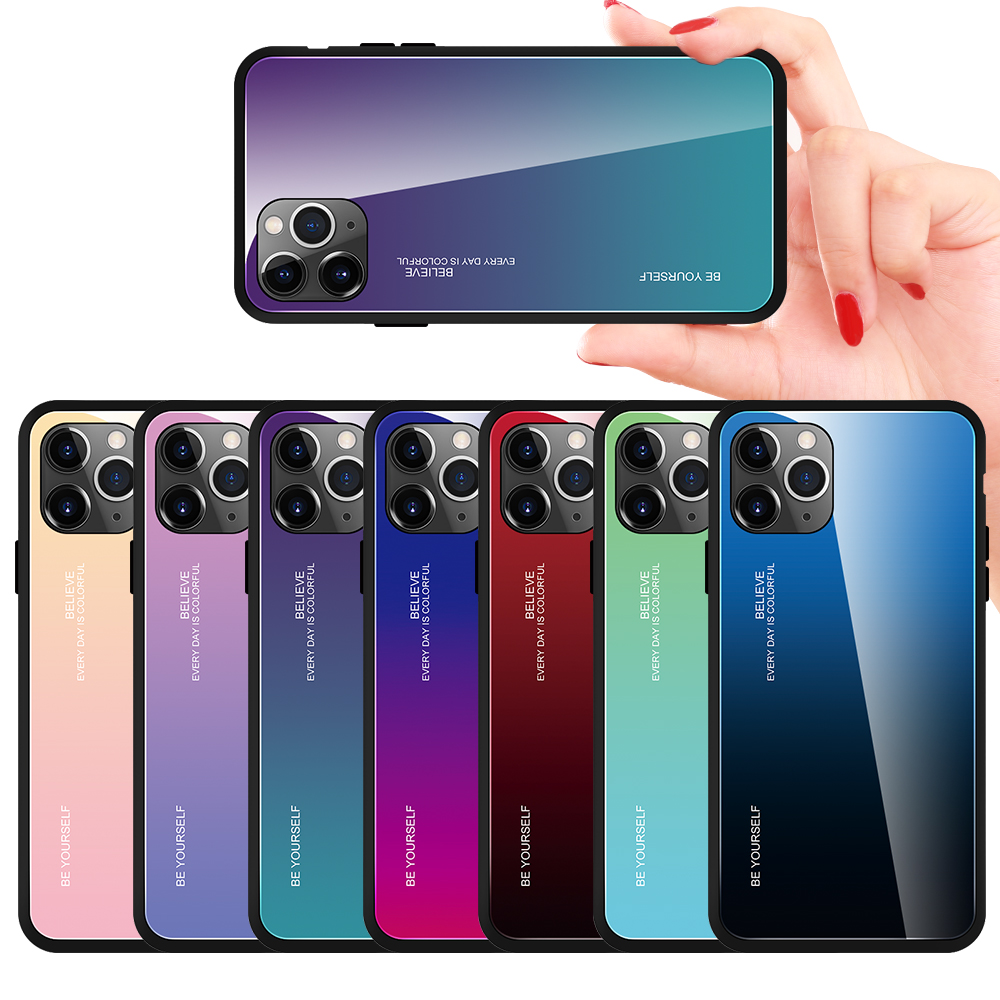 9H Gradient Tempered Glass Case For iPhone 11 PRO- Multi-D