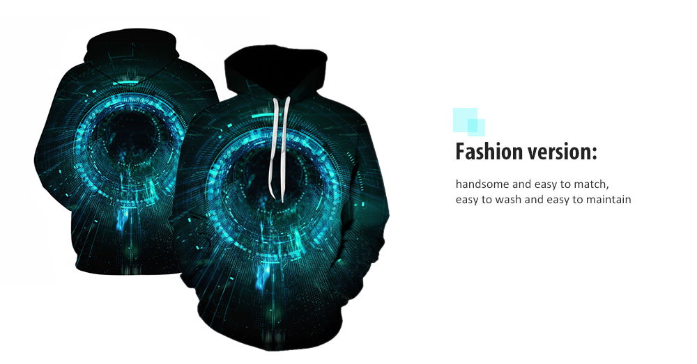 Men Tunnels Pattern Hoodie Creative 3D Digital Printing Sweater Casual Pullover Hooded Top- Multi-A M