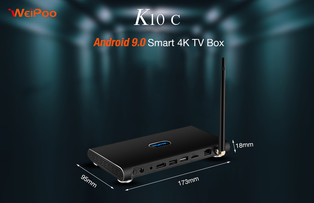 Iweipoo K10C Android 9.0 Smart 4K TV Box with Rockchip 3229 Mali-400 MP2 2GB RAM + 16GB ROM 2.4GHz + 5GHz WiFi 100Mbps Bluetooth 4.0 / VP9 / H.265 / H264 / Support 4K- Black EU Plug