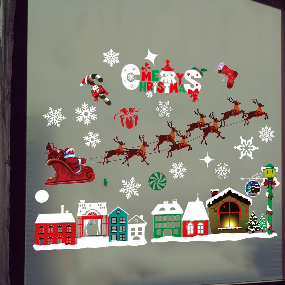 Christmas Elk Sled House Snowflakes Static Sticker Decorative Removable Sticker- Multi-A 35x50cm