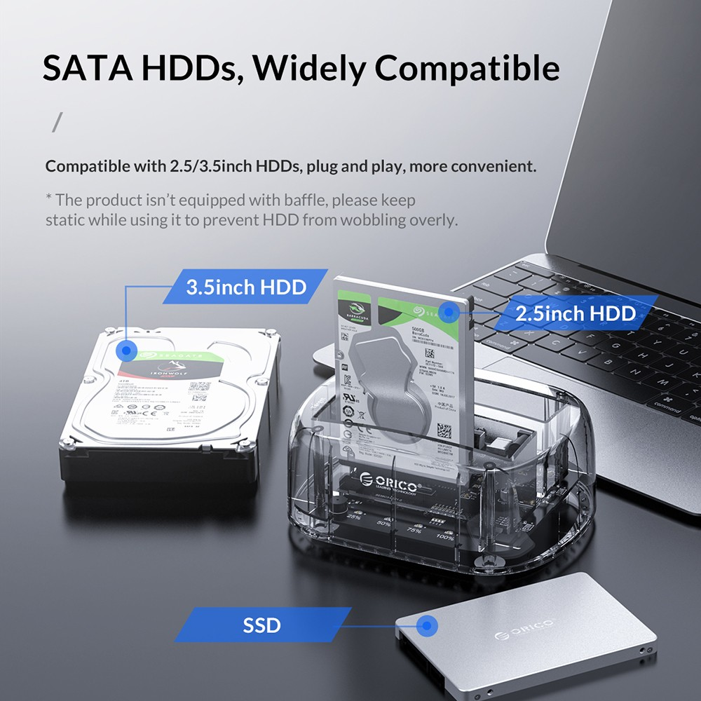 Orico 6239C3 3.5 inch Type-C External Mobile Hard Disk Dock- Transparent EU Plug