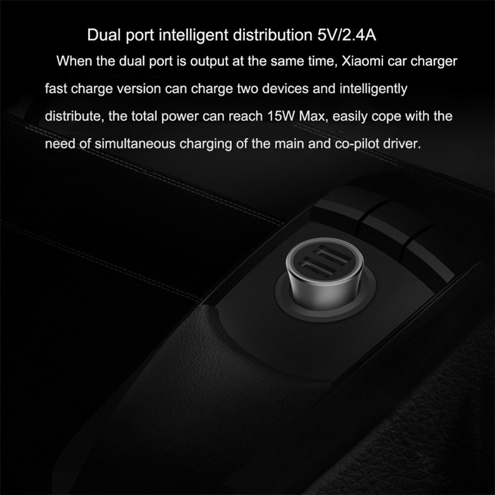 New Version Xiaomi Car Charger Dual USB Quick Charge 18W Edition With LED Light- Platinum