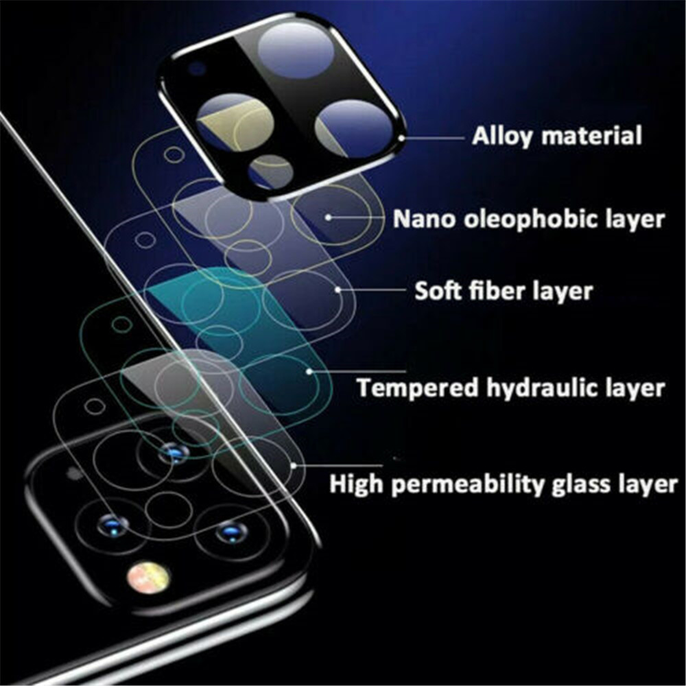 Metal Edge 9H vetro temperato Camera Lens Protector per iPhone Pro 11/11 Pro Max- Nero