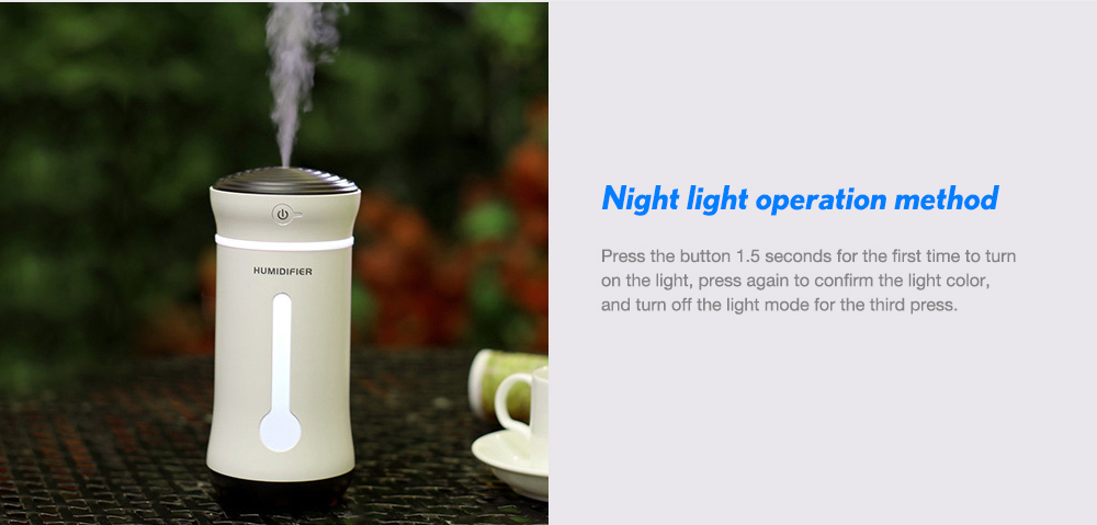 USB Humidifier Creative Gifts Mini Car Atomizer Office Silent Color Atmosphere Light- Black