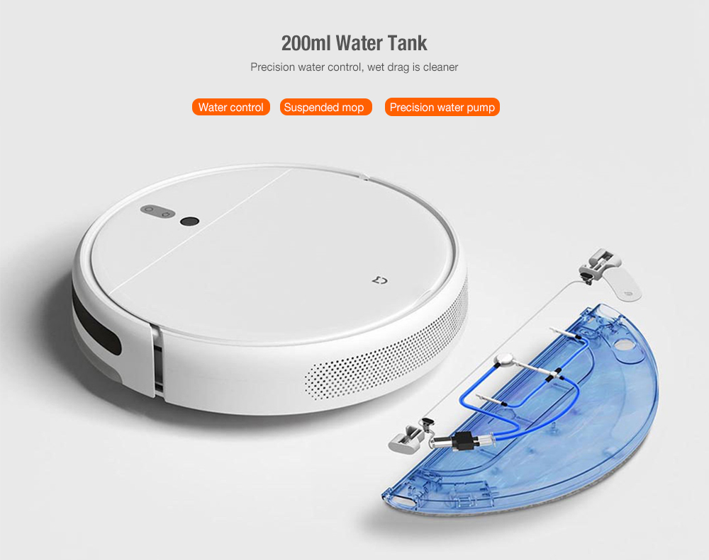 Xiaomi MIJIA 1C Sweeping Robot Vacuum Cleaner with Visual Dynamic Navigation, Smart Water Tank, 2500Pa Powerful Suction- White Chinese Plug (2-pin)