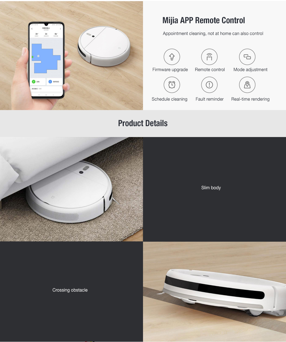 MIJIA 1C Sweeping Robot Vacuum Cleaner from Xiaomi youpin with Visual Dynamic Navigation, Smart Water Tank, 2500Pa Powerful Suction- White