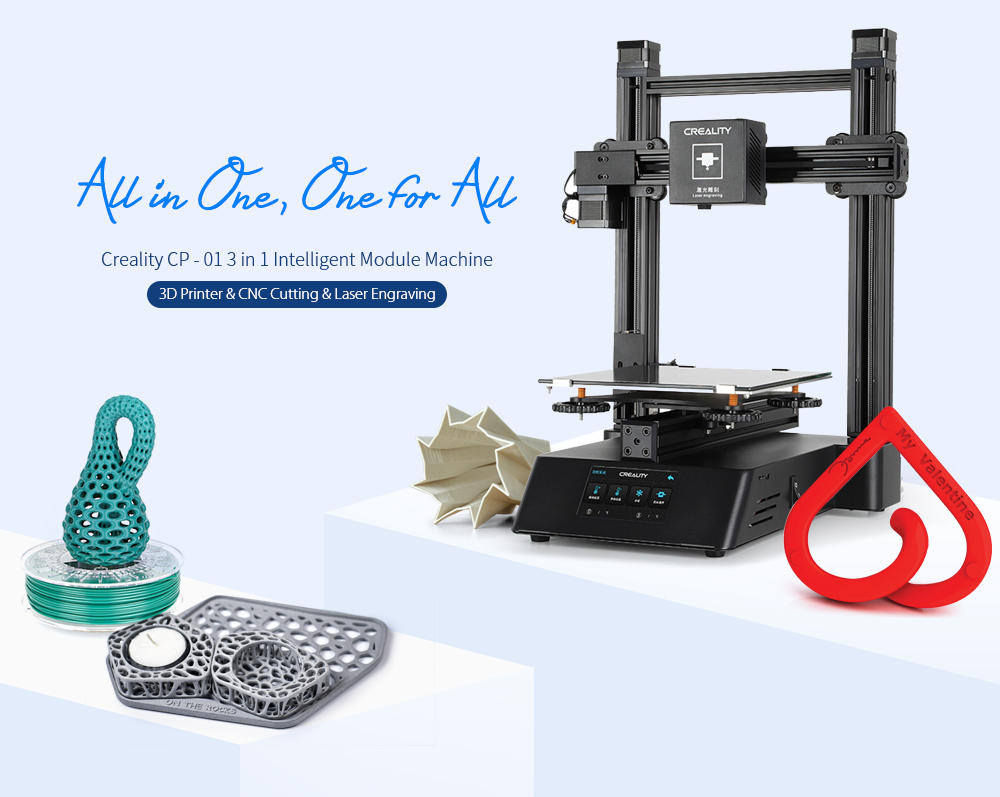 Creality CP - 01 3-in-1 Smart Module Machine 3D Printer CNC Cutting Laser Engraving- Black US Plug (3-pin)