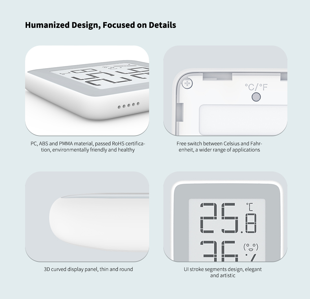 C201 Creative Thermometer and Hygrometer from Xiaomi youpin- White 1pc