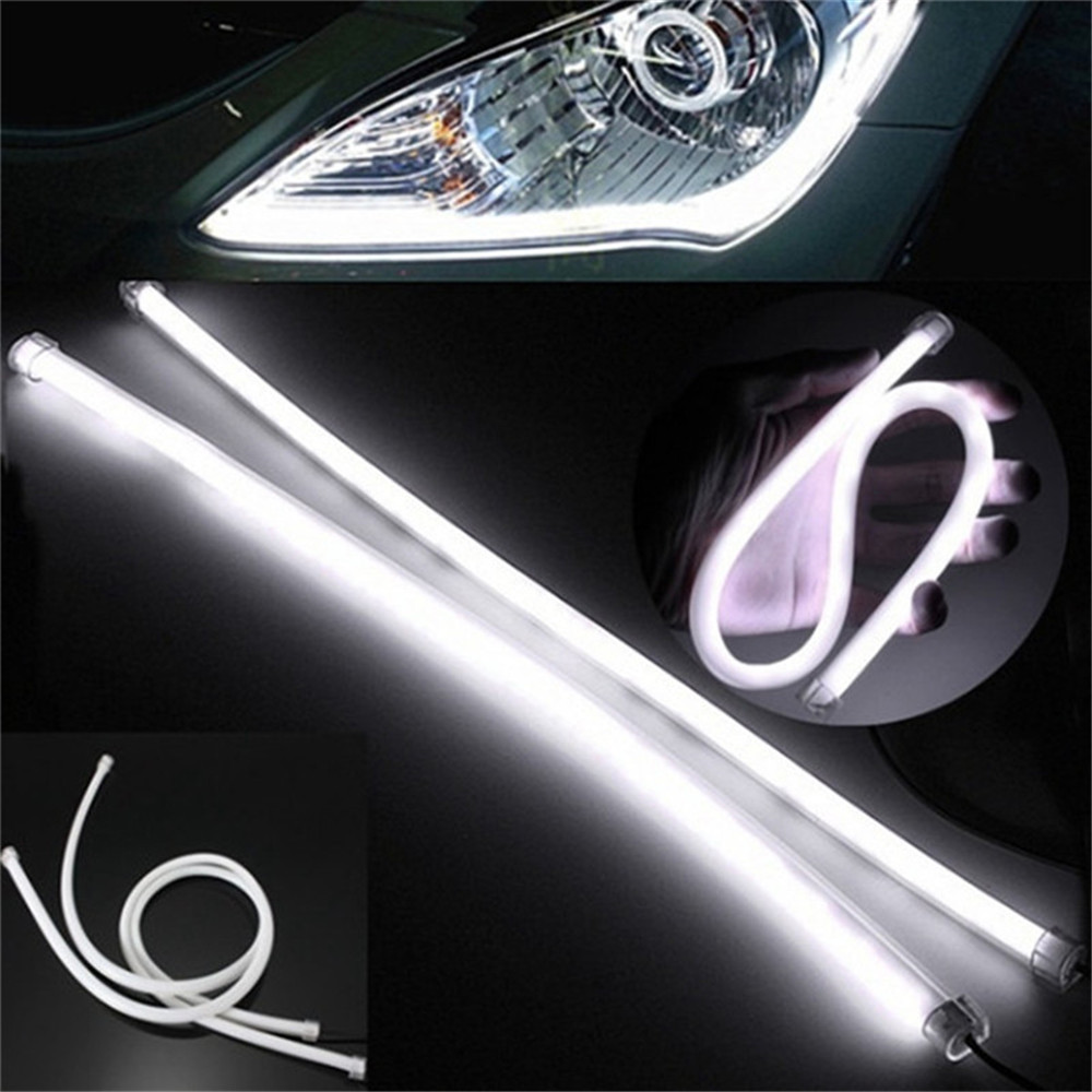 Flexible Tube Strip LED Car Daytime Running Lights  Angel Eyes 2PCS- White 45CM