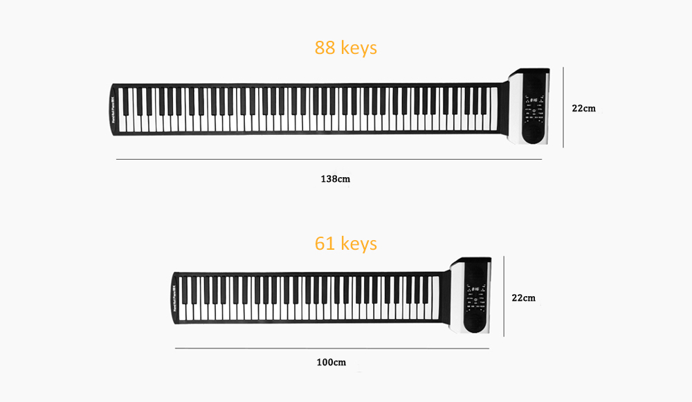 Vvave Sound Floating Hand Roll Electronic Piano from Xiaomi youpin- Black 61 keys