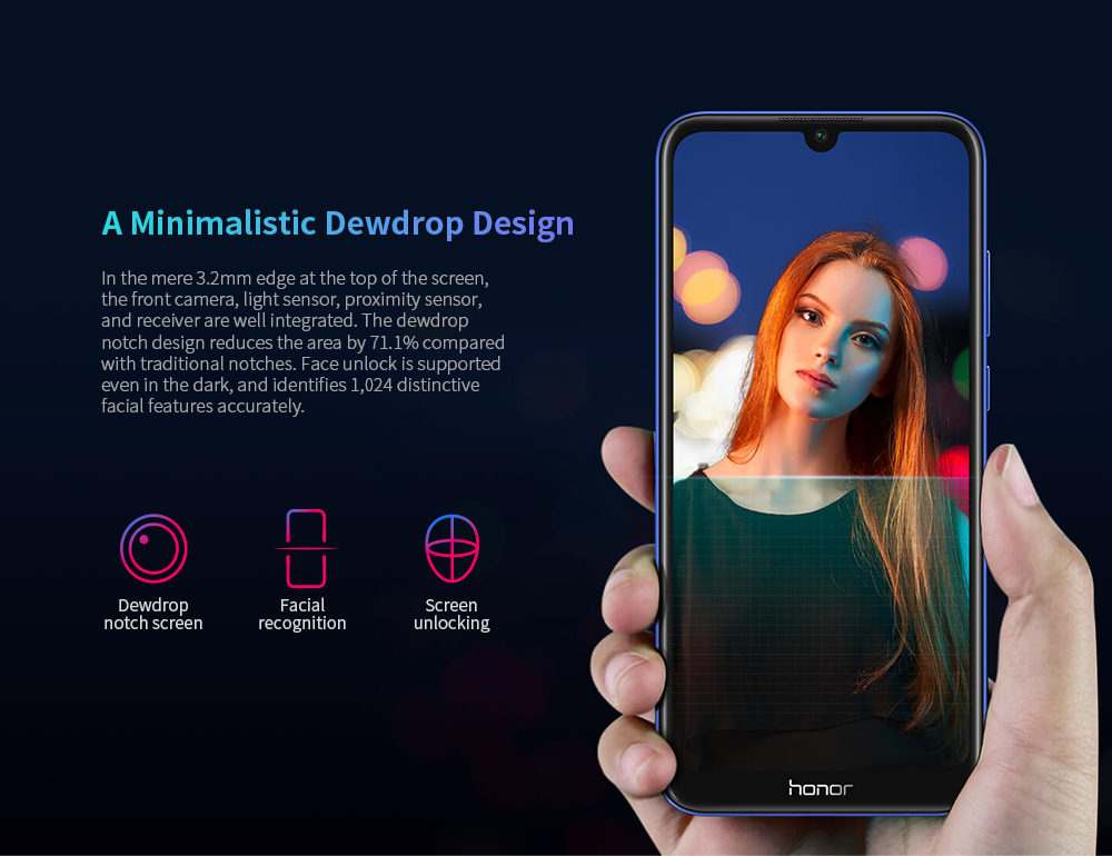 HUAWEI Honor 8A 4G Phablet 2GB RAM 32GB ROM- Black