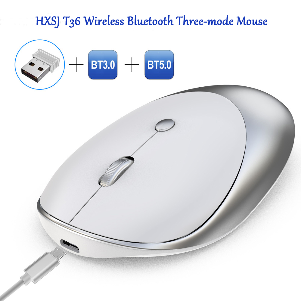 HXSJ T36 Wireless Bluetooth Mouse a Tre Modalità- Bianca