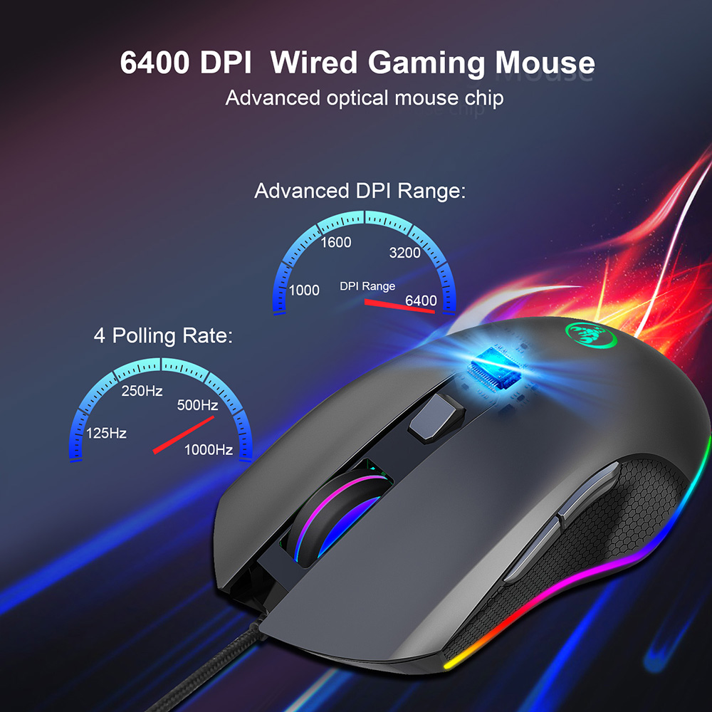 HXSJ A866 6 Keys Wired Gaming Mouse  - Black