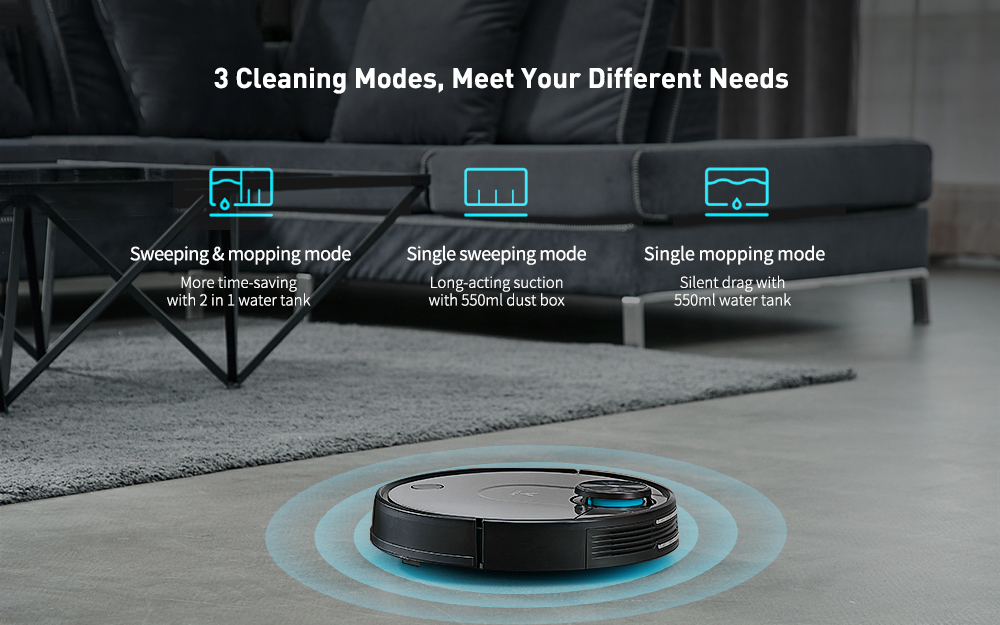 VIOMI V2 Pro Robot Vacuum Cleaner 3 Cleaning Mode LDS Sensor APP Virtual Wall Self-charging 2 in 1 Sweeping Mopping- Natural Black